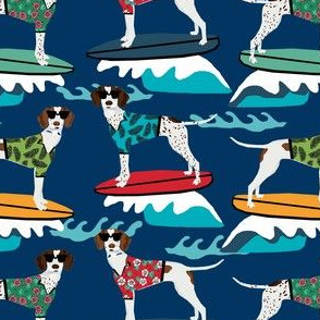 english pointer surfing dog fabric - pointer dog, dog fabric, surfing dog fabric, dog breeds, surfing dog fabric -   dark blue