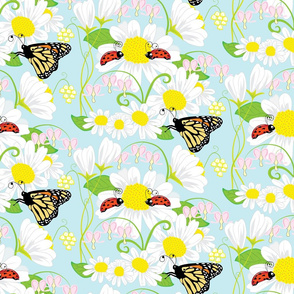Childhood Love Bug large print, Lady Bug, Butterfly and Spring Flowers