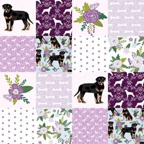 rottweiler dog cheater quilt - cheater fabric, dog quilt, rottweiler fabric, dog floral, floral quilt, girls dog quilt, pet design - purple