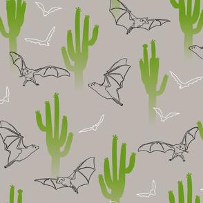 Saguaro Cactus and Bats Gray