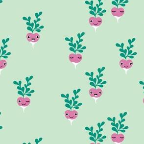 Cute little radish kawaii vegetable garden kids mint