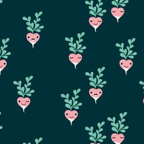 Cute little radish kawaii vegetable garden spring kids teal mint pink