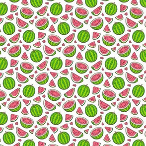 Watermelons Watermelon Fruits on White Tiny Small 0,75 inch