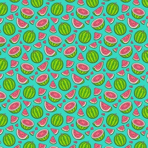 Watermelons Watermelon Fruits on Dark Green Tiny Small 0,75 inch