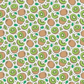 Kiwi Fruits on Cloud Grey Tiny Small 0,75 inch