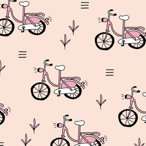 Little bicycle ride summer garden bike design nude pink peach