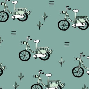 Little bicycle ride summer garden bike design moss green blue