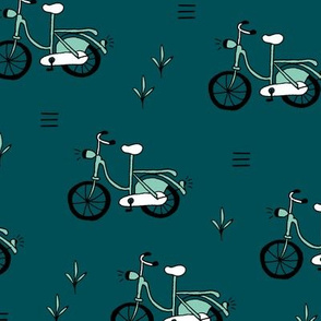 Little bicycle ride summer garden bike design teal mint