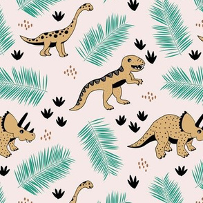Dino friends and palm leaves jungle tropical summer design mint ochre