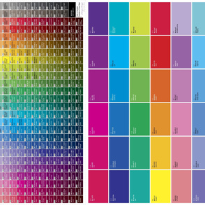 Gradation Color Chart: Tints & Shades + .ase file (paint chip color map)