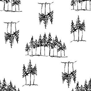 Ink Pine Trees
