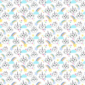 Girl Caticorns with Shooting Stars and Rainbows