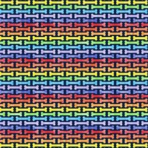 (micro scale) rainbow dog bones on navy - pet fabric - LAD19BS