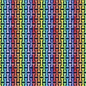 (micro scale) rainbow dog bones on navy - pet fabric (90) - LAD19BS