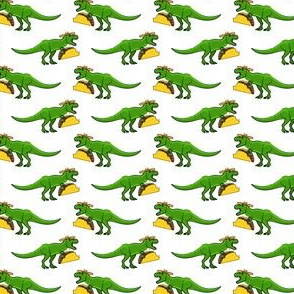 (small scale) tmex  - trex eating tacos on white C19BS