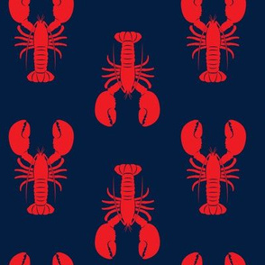 lobsters - red on navy - C19BS