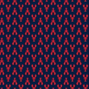 "(1/2"" scale) lobsters - red on navy - C19BS"