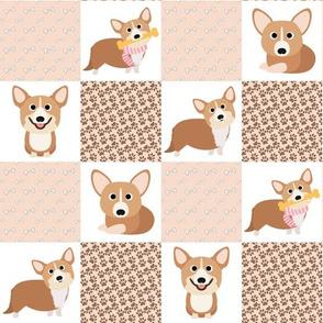 "14"" corgi dog cheater quilt - cheater fabric, dog quilt, corgi fabric, dog, girls dog quilt, pet design - peach"