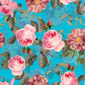 """12"""" Little pink Vintage Roses on teal"""