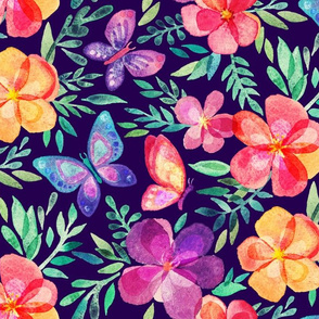 Summer Blooms & Butterflies on Dark Purple