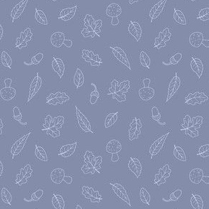 Ditsy Woodland Leaves - simple line Lilac 1