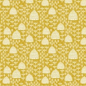 SMALL - bee hives // golden yellow spring florals flower bumble bee linocut block printed textiles