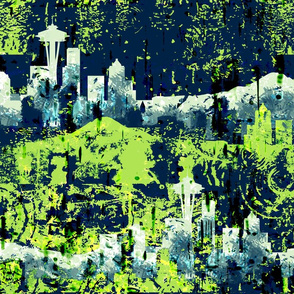 Seattle Grunge in lime green & navy blue sports colors