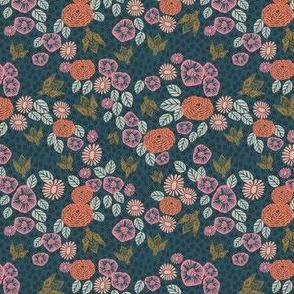 SMALL - bee garden - linocut spring florals bee pink peach vintage colors andrea lauren