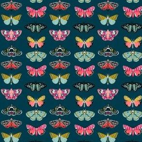 SMALL - moths // moth butterflies butterfly fabric navy botanical nature andrea lauren design andrea lauren fabric