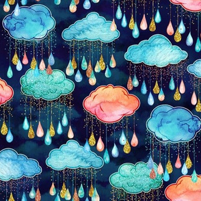 Watercolor Rain Clouds