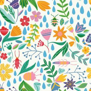 Spring garden rain