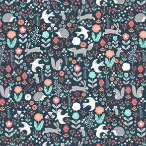 SMALL - spring animals fabric // woodland animals forest birds fox rabbit cute spring florals
