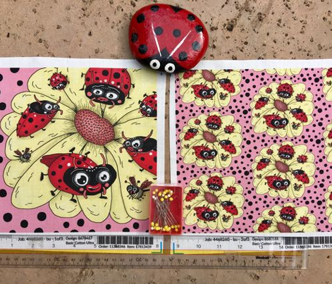 some quirky ladybugs and a couple of cute bees, large scale, pink coral yellow red black white