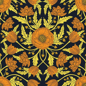 Golden Flowers - Yellow, Orange & Navy Blue Dark Floral Pattern
