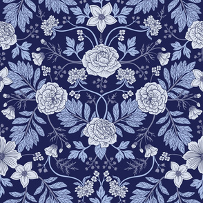 Light Blue, Cobalt Blue, & White Floral Pattern