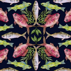 Fun With Fish - A Pink, Green & Blue Fish Pattern