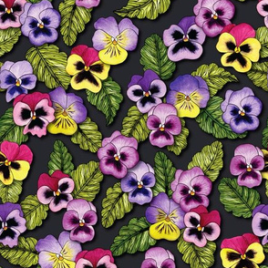 Purple, Red & Yellow Pansies With Green Leaves - Floral/Botanical Pattern