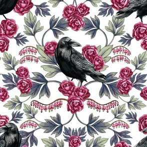 Crow, Bleeding Heart & Roses Floral/Botanical Pattern