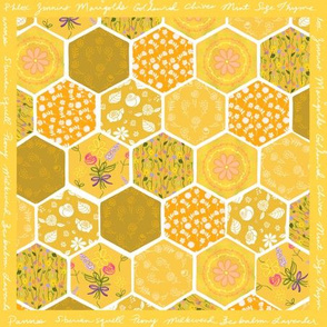 Pollinator Picnic Cheater Quilt - Gold
