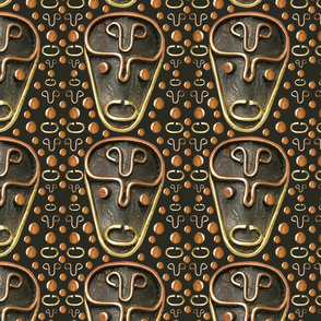 African Mask Copper Brass on Brown