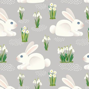 BUNNIES & SNOWDROPS - GRAY 6""