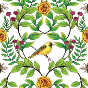 Summer Song - Yellow & Pink Floral Pattern with Birds & Bees