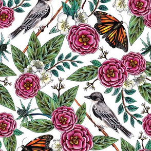 Birds & Butterflies - Pink & Green Floral/Botanical/Nature-Inspired Pattern