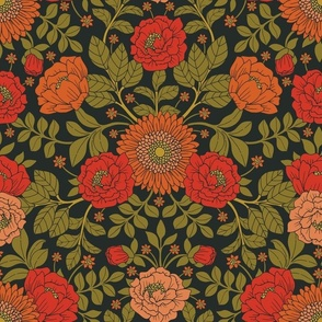Green, Red & Orange Floral/Botanical Pattern