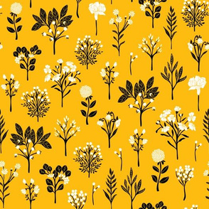Mustard Yellow, Black & White Floral/Botanical Pattern