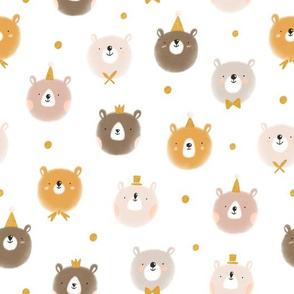 Cute bear faces with golden foil textures