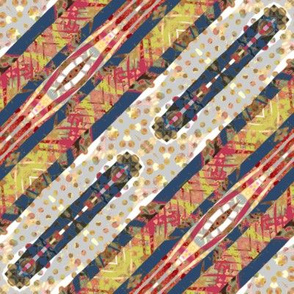 Quiet Colors: Threaded Ribbon Diagonal Stripes