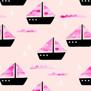 Watercolor sailing boat under water ocean life marine anchor boats pink peach girls