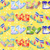 Splishy Splashy Sploshy // Rainbow welly boots by Magenta Rose Designs