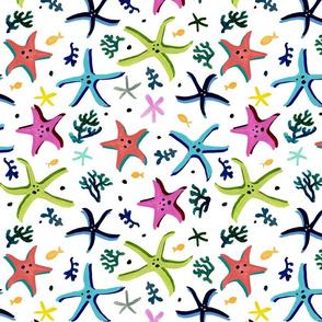 Multi-Colour Starfish White Ground